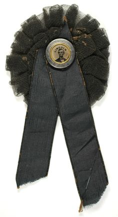 RARE Original 1865 Abraham Lincoln Ferrotype featured on Lincoln Mourning Rosette. Spectacular!  *s*