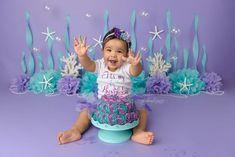 Daydreams Photography | Cake Smash Smash Cake Girl, 1st Birthday Cake Smash, Baby Girl 1st Birthday, First Birthday Parties, Mermaid Theme Birthday, Little Mermaid Birthday, Baby Mermaid, Birthday Pictures, 1st Birthdays