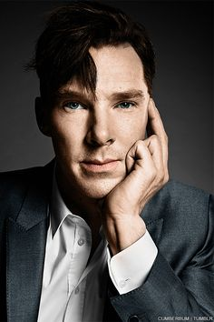 """Benedict Cumberbatch's TIME cover in color."" — Ooh, this exists in color! I really do like the black-and-white look though. B&W photography takes away the distraction of color and focuses purely on form, and my, is his form lovely. <3"