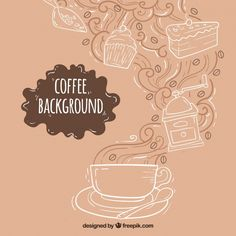 Hand-drawn background with coffee cup and sweets Free Vector