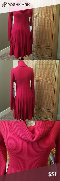 Calvin Klein long sleeve red cowl neck dress Beautiful red knit dress has a cowl neck and a pleated skirt.  It is a flattering fit that hits right above the knee.   100% acrylic Calvin Klein Dresses Long Sleeve
