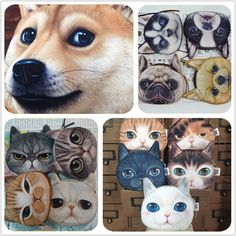 Novelty coin purses Cute Dog Face Cat Face Zipper Case Coin Purse Wallet Zipper Case purse Makeup Buggy Bag Pouch Clutch Bag