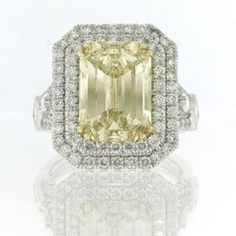 7.37ct Fancy Brownish Yellow Emerald Cut Diamond Engagement Anniversary Ring