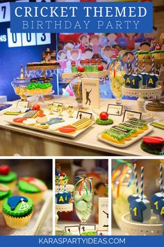 Sporty Cricket Themed Birthday Party via Kara's Party Ideas - KarasPartyIdeas.com Sports Themed Birthday Party, 9th Birthday Parties, Sports Party, Theme Parties, 8th Birthday, Cricket Birthday Cake, Cricket Cake, Rugby, Birthday Cakes For Teens