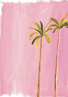 Palm trees. David Hockney and Miami pink-inspired print. A3 print available to buy www.sooshichacha.com