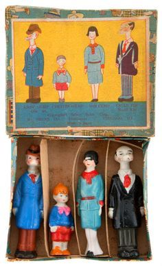 The Gumps...bisque figures in orig. colourful box from 1930s Japan