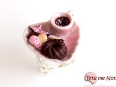 Coffee and biscuits plate -Silver metal adjustable filigree ring!  -Pink ceramic heart shaped plate with pink cup of coffee, heart biscuit with strawberry sauce, star biscuit with strawberry sauce, round chocolate cookie and waffer!