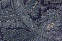 "A high end designer decorating cotton in a graceful paisley print in shades of navy blue, French blue, and denim blue with white accents - a stunning paisley print, this would make great draperies, comforter covers, or throw pillows. 100% cotton. 61"" wide. By Ralph Lauren. https://www.britexfabrics.com/fabric/home-decorating-fabric/ralph-lauren-fayette-paisley-navy.html"