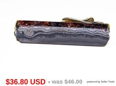 Black Art Glass Tie Clip - Sterling Silver and Gemstone - Art Glass Black & White Tie Bar - 1940s - 1950s Mens Mid Century Vintage Jewelry