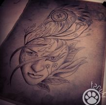 visage tatouage tanuki fisherman tattoo club aix en provence
