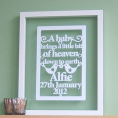 Personalized Papercut 'A baby brings a little bit of heaven down to earth' art / picture
