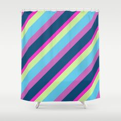 Summer fun Blue pink lime Colorful lines Shower Curtain by PLdesign