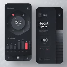 User Interface Design For Mobile Fitness & Heart Rate App Web And App Design, Mobile Ui Design, Web Design Trends, Ui Ux Design, Design Websites, Layout Design, Design Responsive, Design Studio, Flat Design