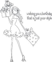 *Stamping Bella Cling Stamp UPTOWN GIRL POSH HAS A PRESENT Rubber UM LL131