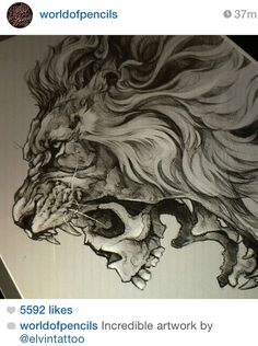 Lion + skull this would make a bad ass tattoo