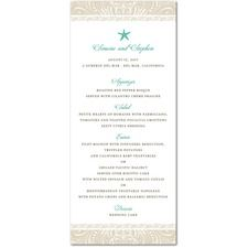 Stylish Starfish  Wedding Menu Cards