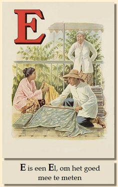Indonesian alphabet card - letter E