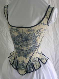 1780 pattern by Norah Waugh from Corsets and Crinolines. Waverly cotton Toile de Jouy, cotton denim, cotton trim, and basket reed boning. - by Bridges on the Body