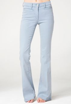 The MiH Jeans Marrakesh in Dazy - a flare jean with jet front pockets.