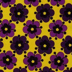 CLEARANCE Half YARD  Purple Flowers on Yellow  by fabricsupply, $6.50