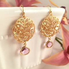Pink Lavender and Gold Filigree Earrings Pink by BlingNiks on Etsy
