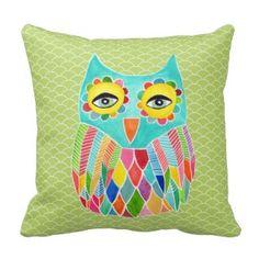 Girly Funky Modern Lime Green Owl Art Cushion Pillows - Green Throw Pillows