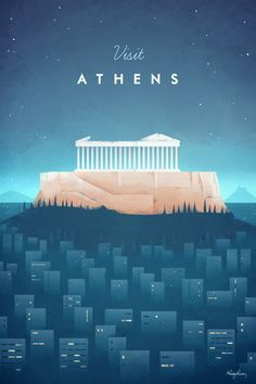 Athens vintage travel poster of a the Acropolis and Parthenon. Original Athens vintage travel poster by Henry Rivers. Buy a premium poster online! Kunst Poster, Poster S, Poster Prints, Travel Illustration, Retro Illustration, Vintage Travel Posters, Vintage Postcards, Retro Posters, Minimal Travel