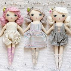 And then there were three. This is likely my last batch for awhile. These dolls are very intense to make and I'm looking to switch it up for a bit. So if you've had your eye on one of these beauties. Now's your chance! ✨