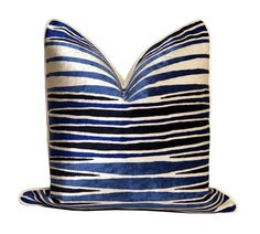 Blue Abstract Pillow by CCDeuxVie on Etsy, $55.50