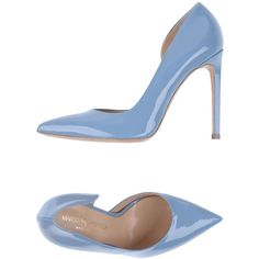 Marco Barbabella Court ($175) ❤ liked on Polyvore featuring shoes, pumps, sky blue, sky blue shoes, animal pump, real leather shoes, stiletto pumps and leather footwear