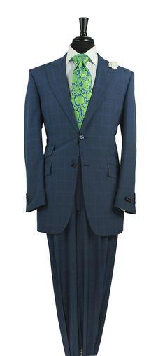 Steven Land Chester Blue Window Pane Fashion Suit SL1208 SuitYourselfMenswear.com