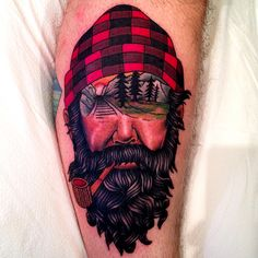 Lumberjack + Checks + Landscape + Face + Beard + Tattoo