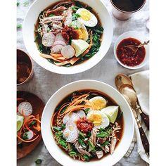 Pork Ramen Noodle Bowls In A Soy Miso Broth