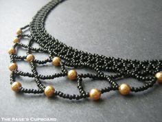 Black Egyptian Collar. Handmade Gold Pearl Beaded Netting Bib Necklace | SagesCupboard - Jewelry on ArtFire
