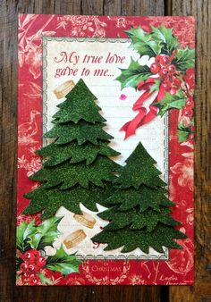 Another combination of the 12 Days Of Christmas Collection from Graphic 45 and Elizabeth Craft Designs. I think I am in love with this paper! For the tree I used the Elizabeth Craft Designs 5 Part Pine (nr 755), the Forest Green micro fine glitter (nr 633) and our 6 x 6 double sided adhesive.