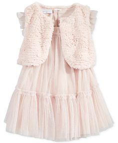 First Impressions Baby Girls  2-Pc. Faux-Fur Vest   Tulle Dress Set 17e43ba47