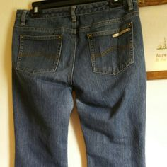 """Michael Kors Jeans Nice Michael Kors jeans. Waist is 16 """" laid flat, rise is 8"""" and inseam is 30"""". Very nice condtion, with some wear on cuffs. I don't trade, but welcome reasonable offers. Thanks for shopping. Michael Kors Jeans"""
