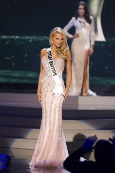 Grace Levy, Miss Great Britain 2014 competes on stage in her evening gown during the Miss Universe Preliminary Show in Miami, Florida on January 21, 2015