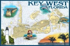 Nautical Chart Decor | Prints and Home Accessories. Key West Florida Decorative Navigational Chart: http://www.completely-coastal.com/2016/01/nautical-chart-decor.html