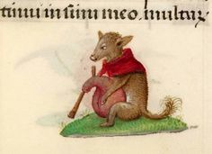 bagpiping fox  'Hours of Joanna the Mad', Bruges 1486-1506 (BL, Add 18852, fol. 341r)