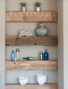 15 Smart DIY Storage Solution Ideas for Tiny Bathroom - bathroom - Bathroom Decor Built In Shelves, Floating Shelves, Build Shelves, Built Ins, Rustic Shelves, Floating Wall, Corner Shelves, Diy Home Decor, Room Decor