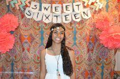 Coachella Theme'd Sweet Sixteen. Photo Booth backdrop #party #sweetsixteen #coachella #photobooth