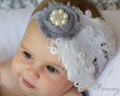 Beautiful Vintage Inspired Headband, 1920's Glam, Baby Headband, Toddler Headband, Nagori Feather, Feather Bow, Pearl Headband, Photo Prop