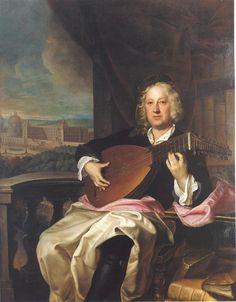 Jan Kupecký - Portrait of Count Johann Adam Graf von Questenberg playing the lute - 1716