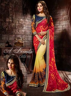 #Multicolor Georgette #Saree with #Designer-Blouse | US$57