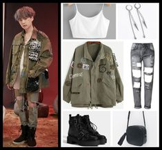 Korean Fashion Kpop Inspired Outfits, Bts Inspired Outfits, Korean Girl Fashion, Kpop Fashion Outfits, Tomboy Fashion, Edgy Outfits, Swag Outfits, Mode Outfits, Dance Outfits