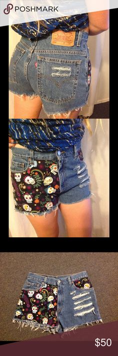 """Custom Levis 550 Cutoffs Shorts 31 High Waist Cute pair of vintage Levis! Custom Cutoffs with a skull pattern. 550 - no size marked so please check the measurements. Waist 31"""" Rise 11 1/2"""" Inseam 2 1/4"""" Levi's Shorts Jean Shorts"""