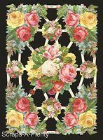 German Victorian Style Embossed Scrap Die Cut - Stunning Roses / Flowers EF7409