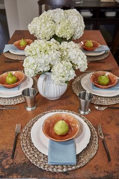 The Farmhouse Table in Tempered Copper by Native Trails as seen on @Property Brothers: An easy way to achieve country chic is in the smaller details like these place settings. These pears bring the outdoors in, while the hydrangeas add an end-of-summer burst of fresh air.