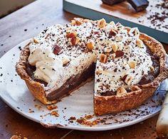 Chocolate custard and cream pie